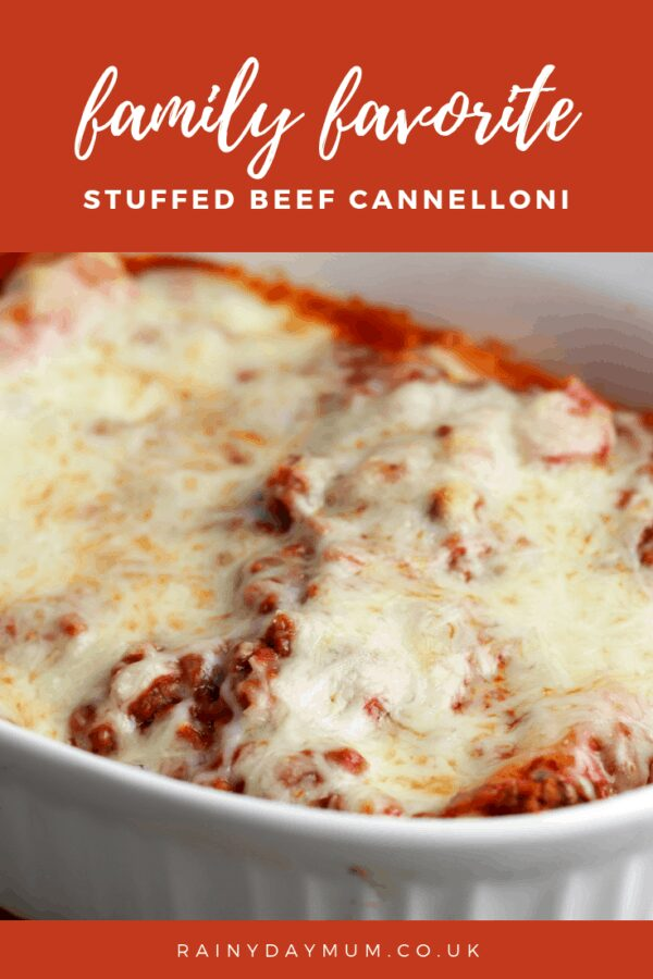 family favourite stuffed cannelloni in a baking dish