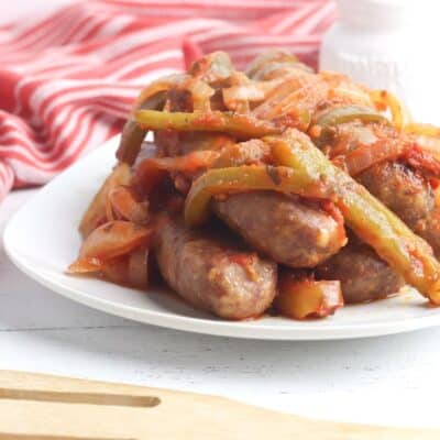 Slow Cooker Sausage Casserole with Onions and Peppers
