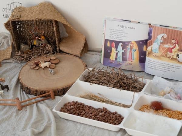 Materials and set up for a Nativity Crib Scene for Sensory Play
