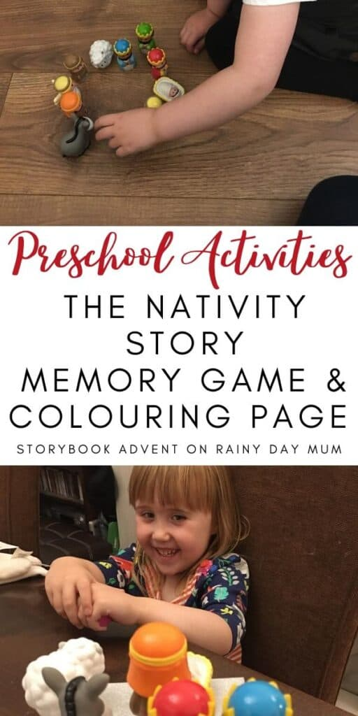 Christmas Story Preschool Activity Kims Game and Colouring page