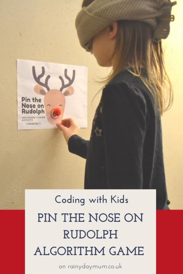 coding with kids - unplugged algorithm game to pin the nose on rudolph