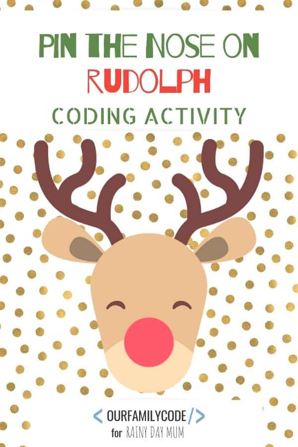 Pin the nose on rudolph coding activity for kids