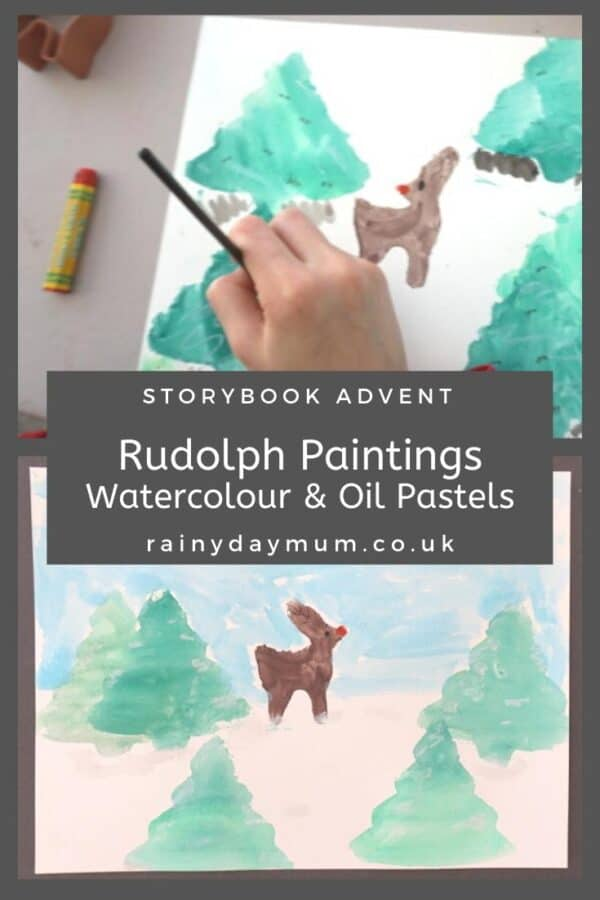 Rudolph watercolor and oil painting art projects for kids