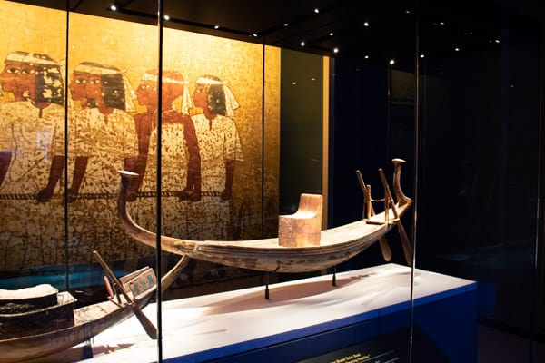 one of the many boats found inside Tutankhamun's tomb in the Valley of the Kings by Howard Carter in 1922