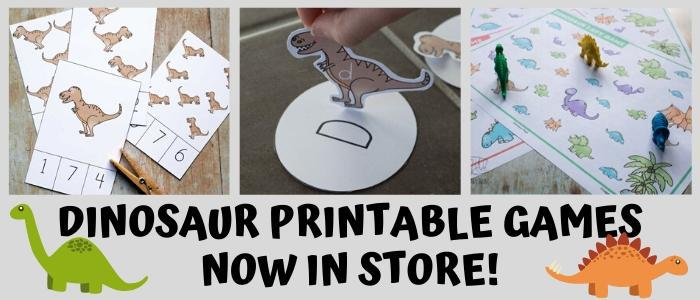 Printable Dinosaur Games and Activities Now Available in the Rainy Day Mum Store