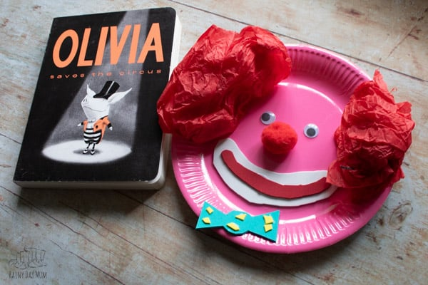 clown face to make when you read Olivia and the Circus with toddlers and preschoolers