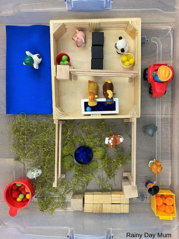 Farm Sensory Bin Set up for toddlers to play with