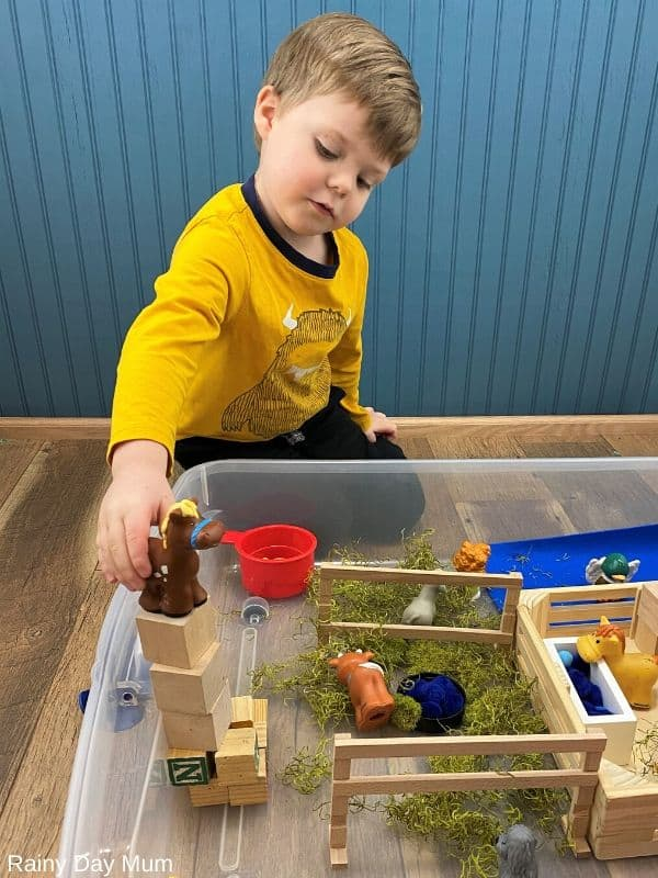 toddler playing with a small world play set up