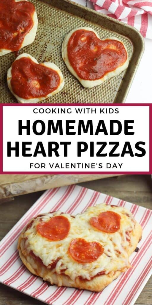 homemade heart pizzas for Valentine's Day dinner to cook with kids