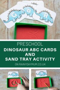dinosaur abc and sand tray activity for preschoolers