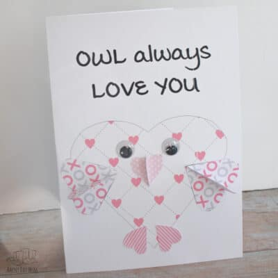 FREE Printable Owl Heart Valentine's Card for Kids to Make