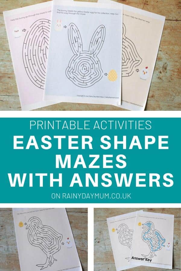 printable activities Easter Shape Mazes with Answers