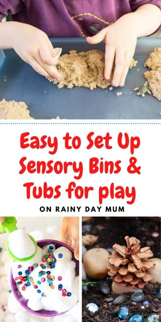 easy to set up sensory bins and tubs for play