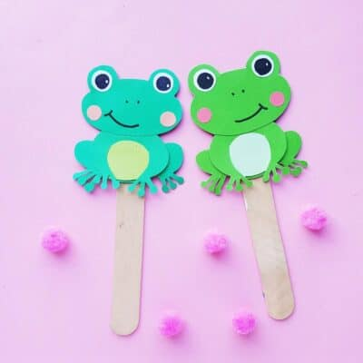 Printable Five Little Frogs Paper Puppets Craft