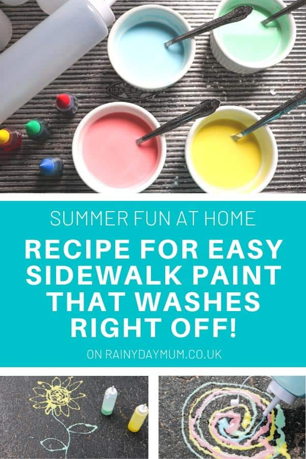recipe for easy sidewalk chalk paint that kids will love to use