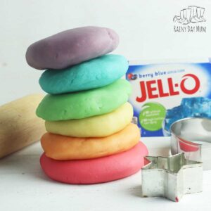 a stack of coloured and scented playdough ready to use made at home with packed of Jell-o