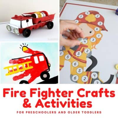Collage of just some of the fun crafts and activities about firefighters and engines to do with preschoolers as part of a community helpers or fire safety unit