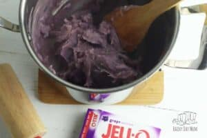Jell-o Playdough forming in the pan
