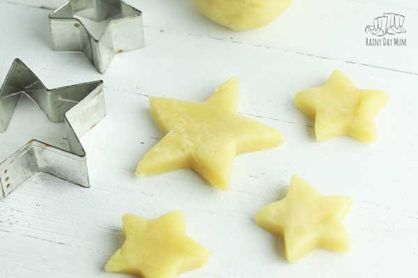 pretty yellow lemon scented play doh stars with a cutter