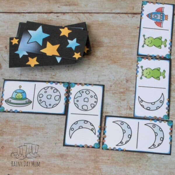 space picture domino game for preschoolers