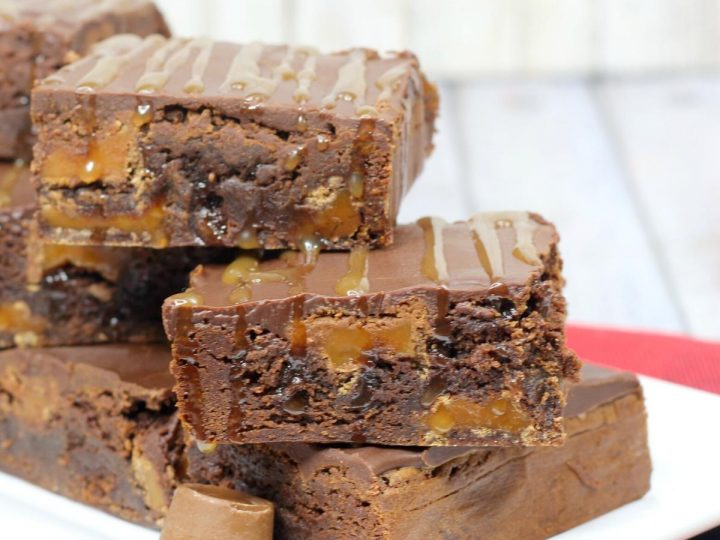 Rolo brownies with homemade chocolate ganache and salted caramel drizzle ideal for an easy Valentine's Day Dessert