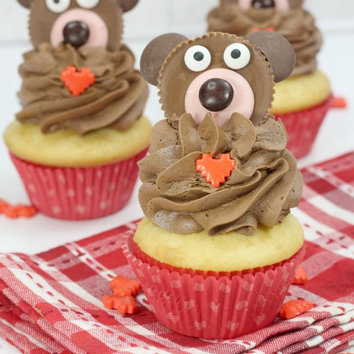 Valentine's Bear Cupcakes to Decorate with simple Reese's Cup Bears that you can make at home
