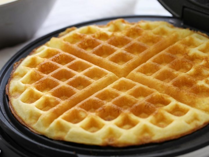 easy waffle recipe for families to make in the waffle iron
