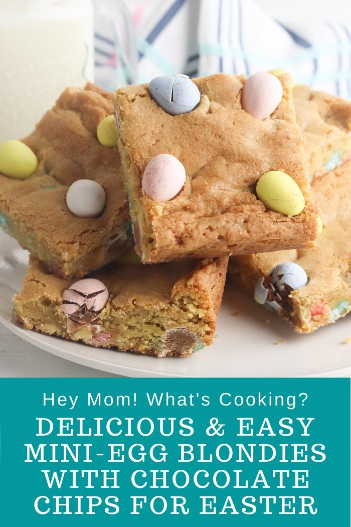 delicious and easy mini egg blondies with chocolate chips for Easter