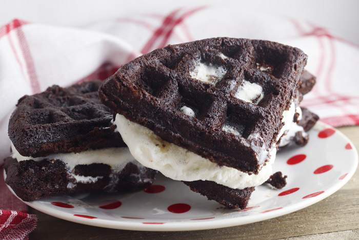 chocolate brownie waffle ice cream sandwich ready for summer dessert for the family