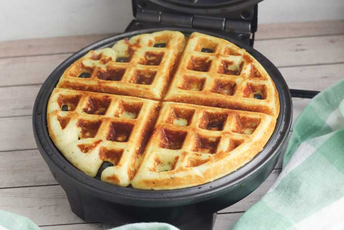 waffle with pepperoni and cheese to dip in pizza sauce