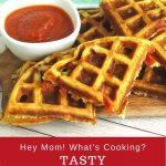 easy savoury waffles with pepperoni and pizza sauce text reads tasty dinner waffles pepperoni pizza and dipping sauce