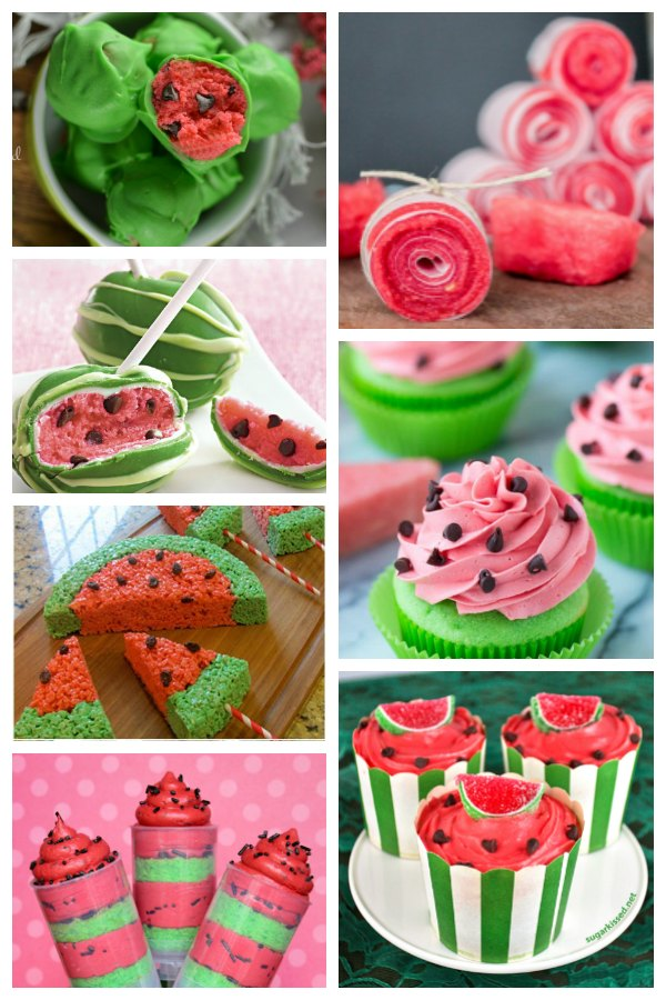 collage of watermelon cakes and cake pops