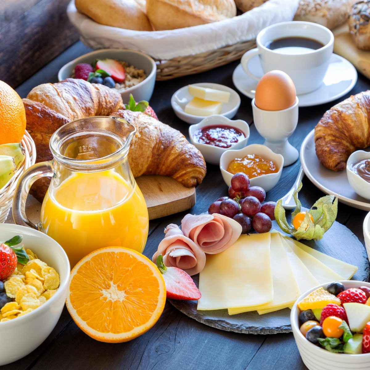 a table laid for a delicious breakfast