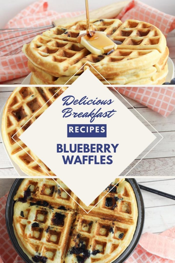 collage of 3 views of a stack of blueberry waffles text overlay ready delicious breakfast recipes blueberry waffles