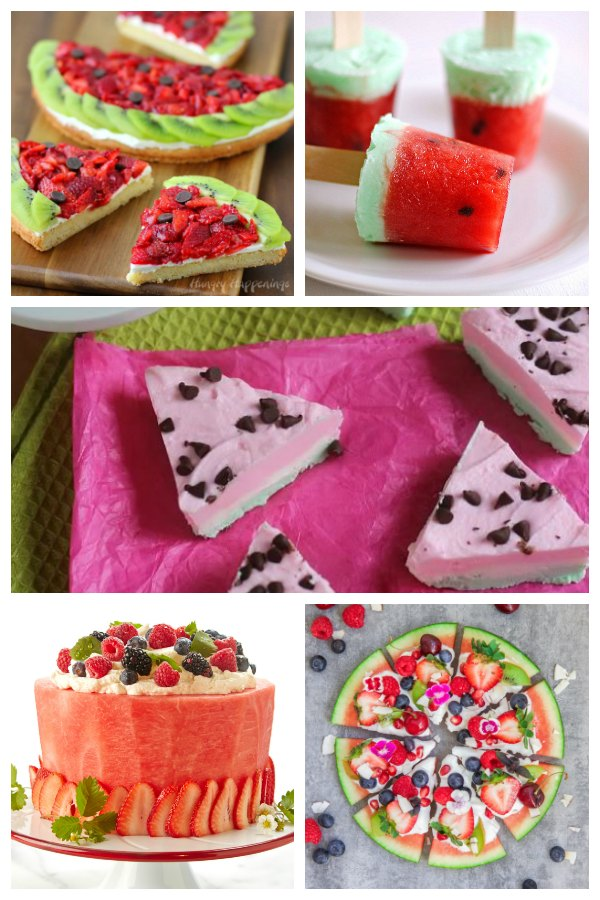 collage of delicious watermelon desserts for families