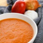Warming Roasted Plum Tomato Soup with Garlic and Onions