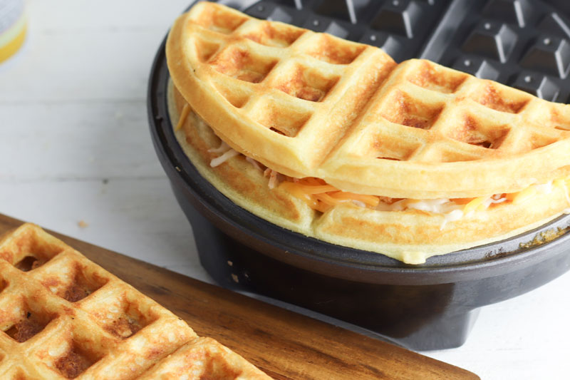 quesadilla waffles with chicken and cheese