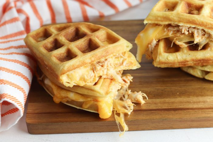 delicious melted cheese and chicken waffle quesadillas