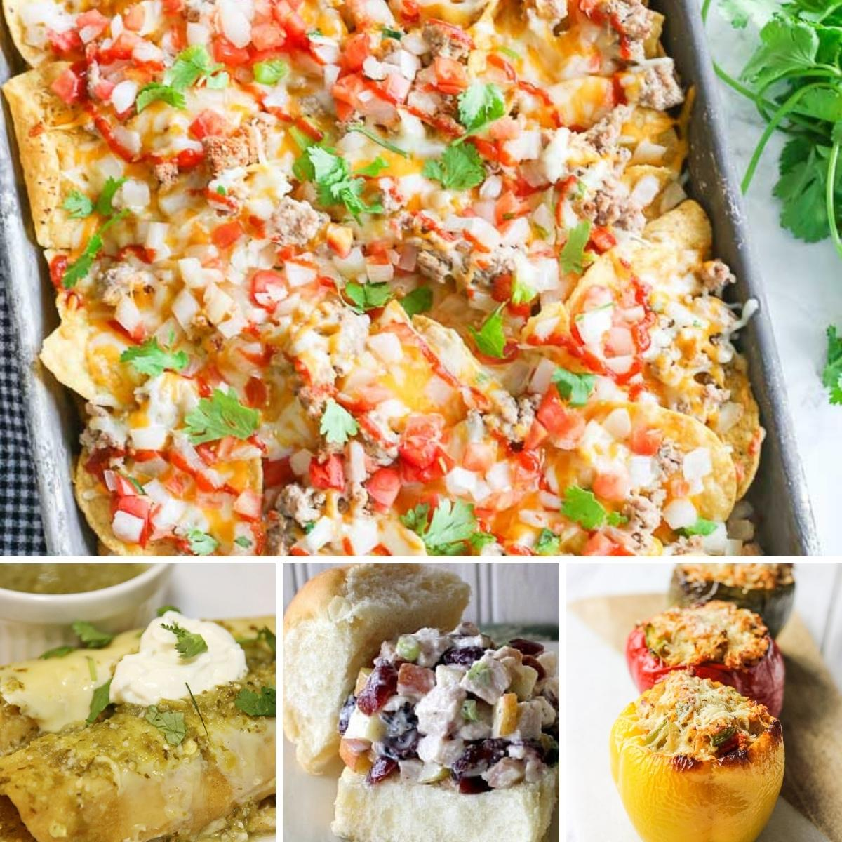 collage of recipes made with leftover turkey from thanksgiving or christmas