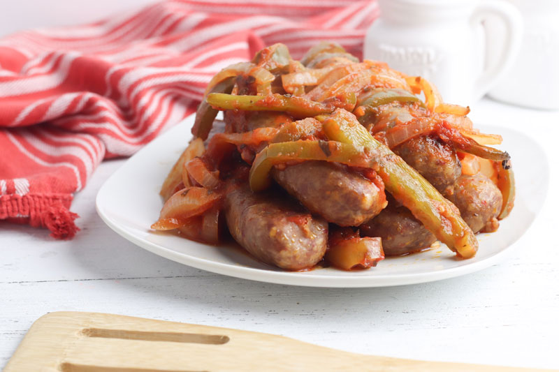 slow cooker sausage casserole on a plate