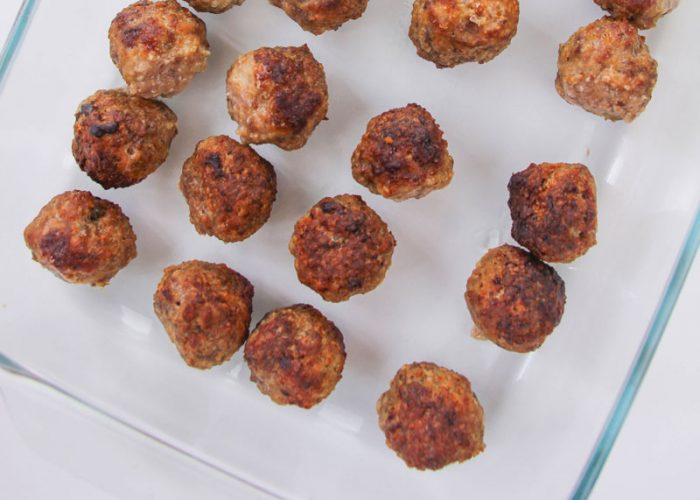 baked meatballs ready to be added to pasta