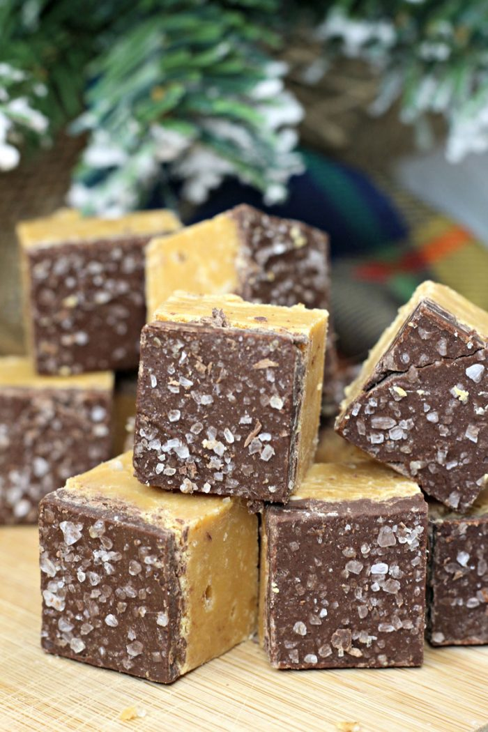 easy homemade fudge - chocolate topped salted caramel fudge in front of a christmas tree