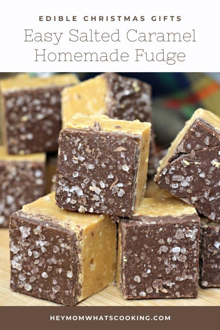 close up of homemade salted caramel fudge for pinnable image