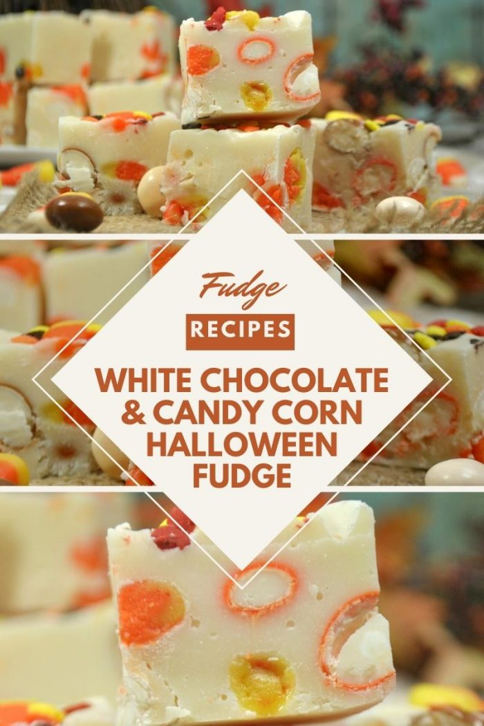 pinterest collage for a halloween fudge recipe white chocolate with candy corn and pumpkin m&ms