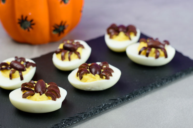 finished halloween spider devilled eggs appetizers