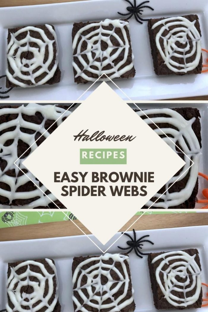 collage of different angles of spider web brownies for halloween