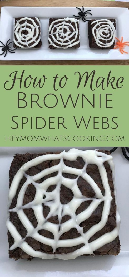 pinnable image for how to make spider web brownies