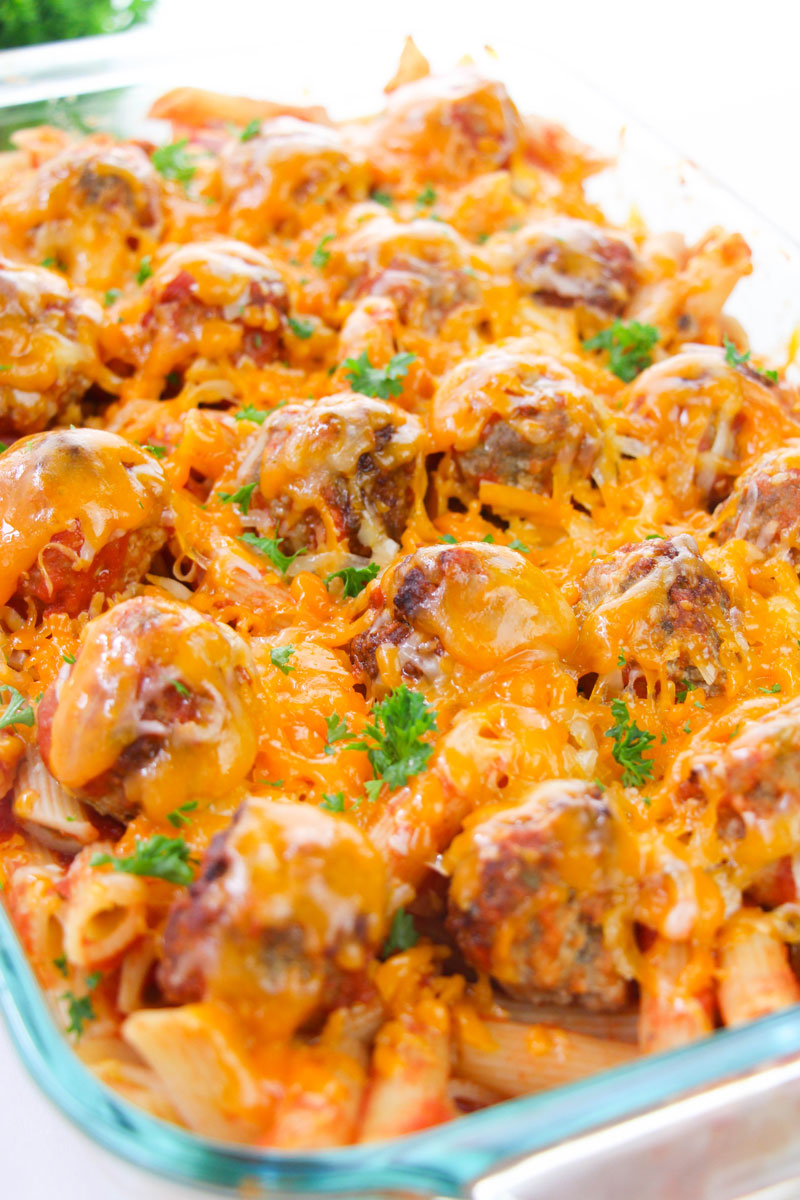 pasta bake with meatballs great for mid week family dinners