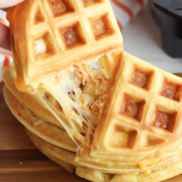 Waffles for Dinner ~ Homemade Chicken and Cheese Waffle Quesadillas