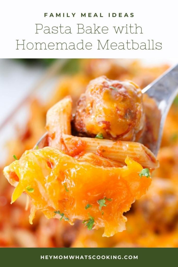 pasta and meatball on a fork with melted cheese a delicious meal for families to enjoy on a weeknights